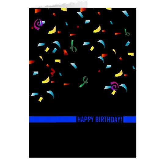 Police Birthday Thin Blue Line Custom Card