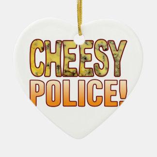 Police Blue Cheesy Ceramic Heart Decoration