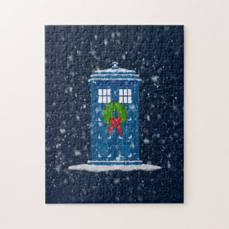 """Police Box in Christmas Snow"" Jigsaw Puzzle"