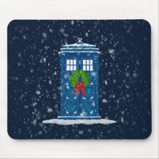 """""""Police Box in Christmas Snow"""" Mouse Mat"""