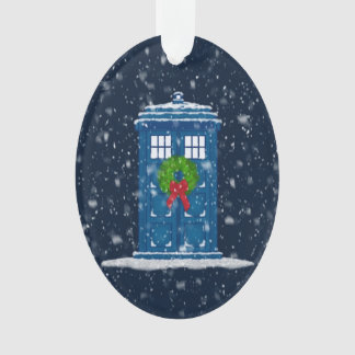 """Police Box in Christmas Snow"" Ornament"
