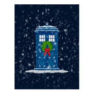 """Police Box in Christmas Snow"" Postcard"