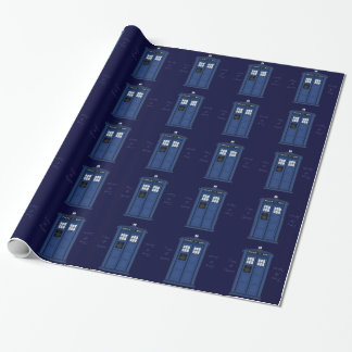 POLICE Box Public Call Dark Blue Geek Wrapping Wrapping Paper