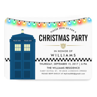 Police Box Themed Surprise Party Card