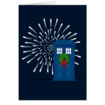 """Police Box with Christmas Wreath"" Greeting Card"