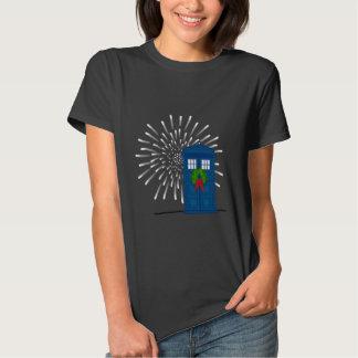 """Police Box with Christmas Wreath"" T-shirt"