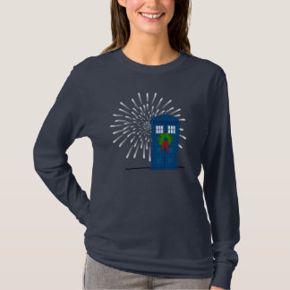 """Police Box with Christmas Wreath"" T-Shirt"