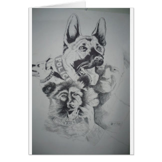Police Canine Dog by hart Greeting Cards