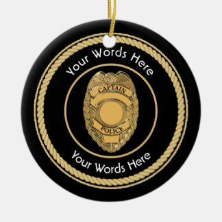 Police Captain Badge Universal Christmas Ornament