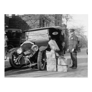 Police Capture Bootleggers Car, 1922 Postcard