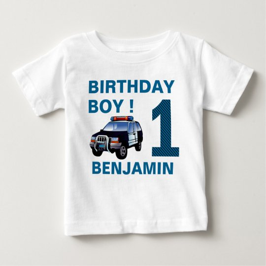 Police Car 1st Birthday Party Baby T Shirt