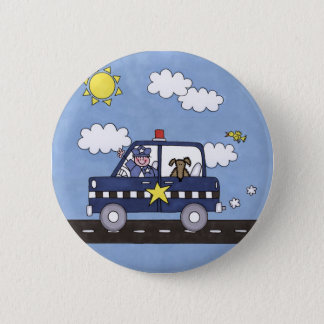 Police Car 6 Cm Round Badge
