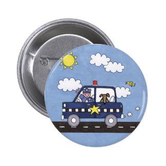 Police Car 6 Cm Round Badge