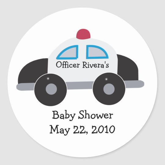 Police Car Baby Shower or Birthday Favour Sticker