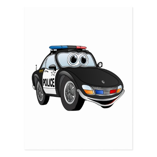 Police Car Cartoon 2 BWB Postcard