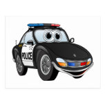 Police Car Cartoon 2 BWB Postcards
