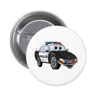 Police Car Cartoon 4 BW 6 Cm Round Badge