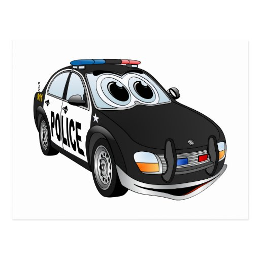 Police Car Cartoon BWB Postcards