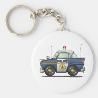 Police Car Law Enforcement Basic Round Button Key Ring