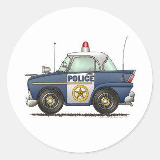 Police Car Law Enforcement Round Sticker