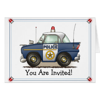 Police Car Police Crusier Cop Car Party Invitation Greeting Card