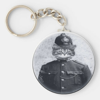 Police Cat Basic Round Button Key Ring