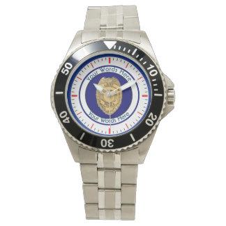 Police Chief Badge Shield Custom Wristwatches