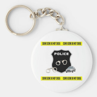Police Crime Scene Basic Round Button Key Ring