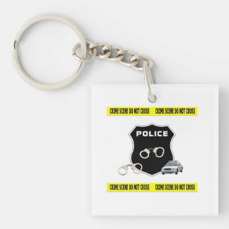 Police Crime Scene Double-Sided Square Acrylic Key Ring