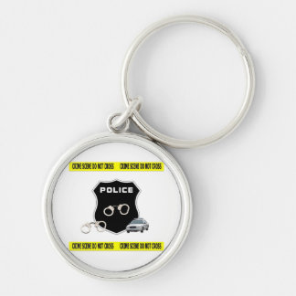 Police Crime Scene Silver-Colored Round Key Ring