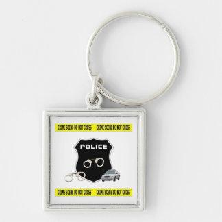 Police Crime Scene Silver-Colored Square Key Ring