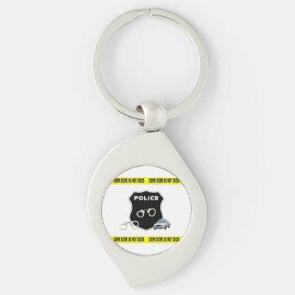 Police Crime Scene Silver-Colored Swirl Key Ring