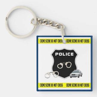 Police Crime Scene Single-Sided Square Acrylic Key Ring