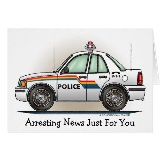 Police Cruiser Car Cop Car Note Card