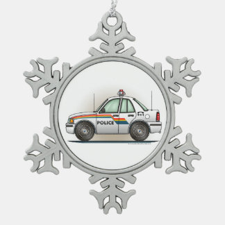 Police Cruiser Car Cop Car Snowflake Pewter Christmas Ornament