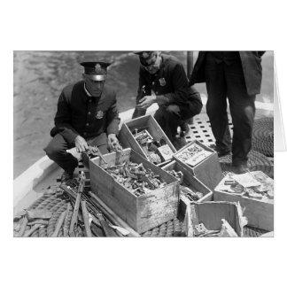 Police Destroying Gun Stash, 1923 Greeting Card