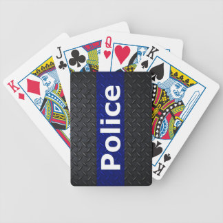 Police Diamond Plate Thin Blue Line Bicycle Playing Cards
