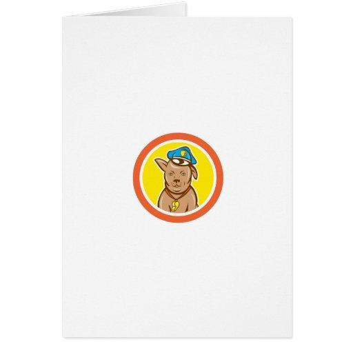 Police Dog Canine Circle Cartoon Greeting Card