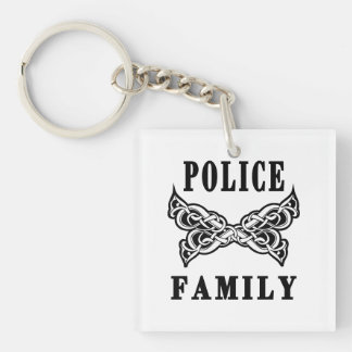 Police Family Tattoo Double-Sided Square Acrylic Key Ring