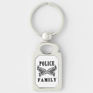 Police Family Tattoo Silver-Colored Rectangular Metal Keychain
