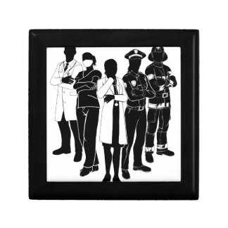 Police Fire Doctor Emergency Team Silhouettes Small Square Gift Box