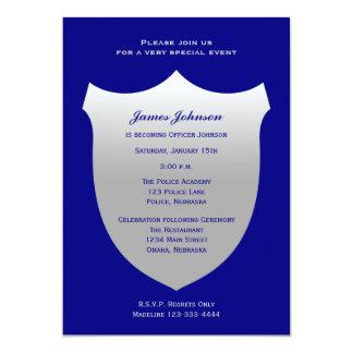 Police Graduation Invitations Silver Badge on Navy