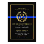 Police Graduation | Retirement Themed Monogram 13 Cm X 18 Cm Invitation Card
