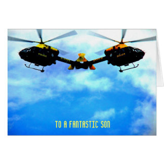 Police Helicopter Against Sky Greeting Card
