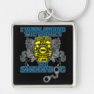 Police I Am the Sheepdog Silver-Colored Square Key Ring
