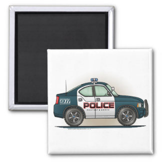 Police Interceptor Car Cop Car Square Magnet
