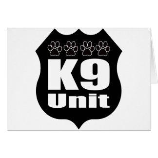 Police K9 Unit Black Badge Dog Paws Greeting Card