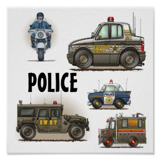 Police Law Enforcement Vehicles Poster