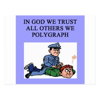 police lie detector jke postcard