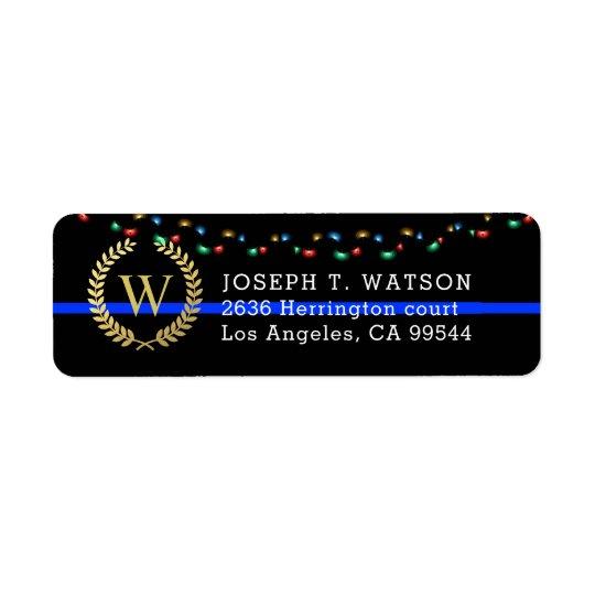 Police Monogram Faux Gold Wreath Holiday Address Return Address Label